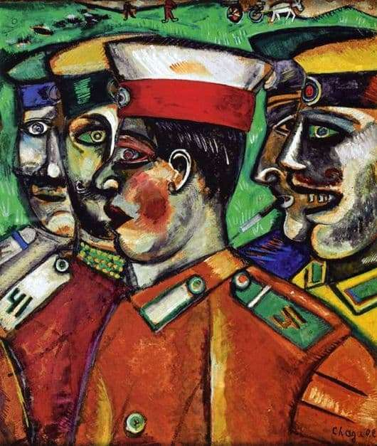 Description of the painting by Marc Chagall Soldiers