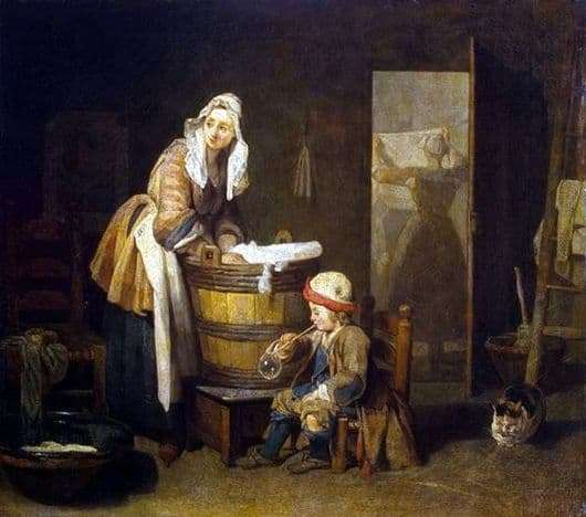 Description of the painting by Jean Baptiste Chardin Laundresses