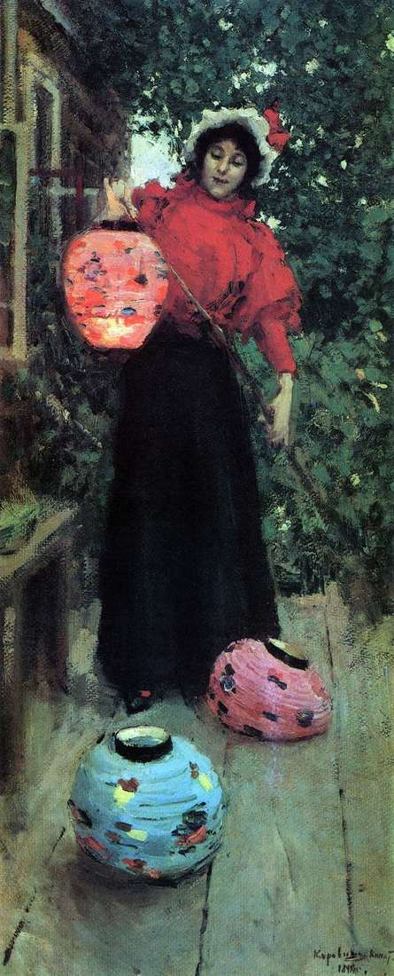 Description of the painting by Konstantin Korovin Paper lanterns
