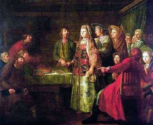 Description of the painting by Mikhail Shibanov Celebration of the wedding contract