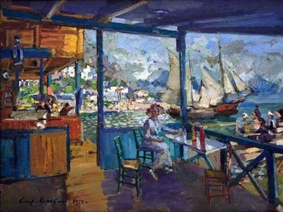 Description of the painting by Konstantin Korovin Pier in Gurzuf