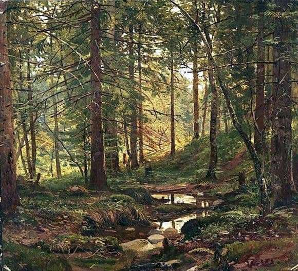 Description of the painting by Ivan Shishkin Stream in the forest