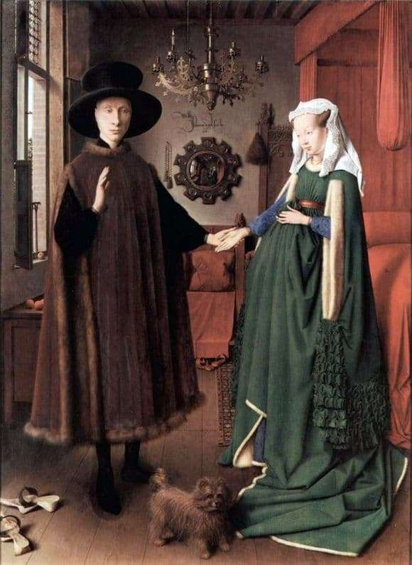 Description of the painting by Jan van Eyck Portrait of the Arnolfini couple