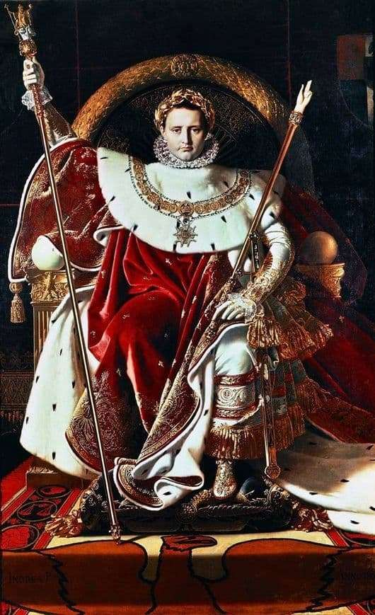 Description of the painting by Jean Auguste Ingres Napoleon on the imperial throne
