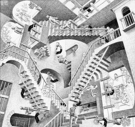 Description of the painting by Maurits Escher Relativity