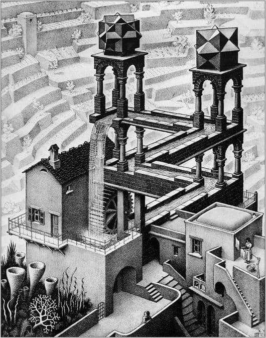 Description of the painting by Maurits Escher Waterfall