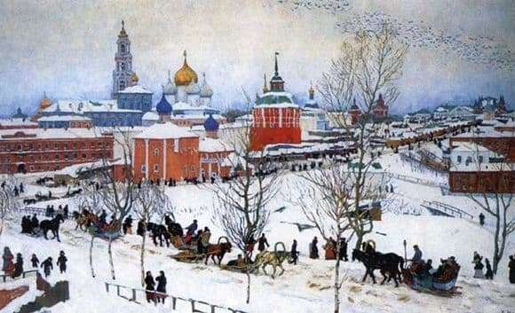 Description of the painting by Konstantin Yuon Winter. Rostov Veliky