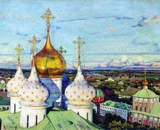 Description of the painting by Konstantin Yuon Domes and swallows