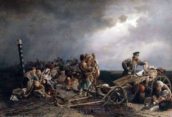 Description of the painting by Valeriy Jacobi Halt prisoners