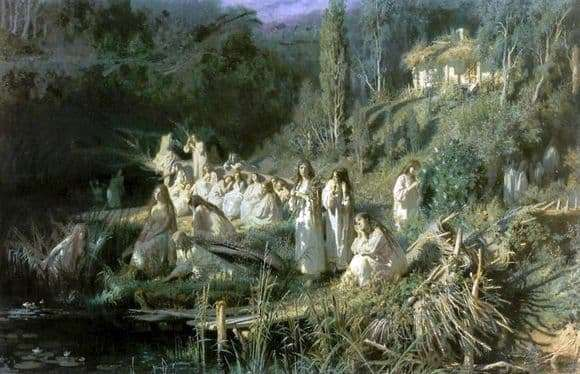 Description of the painting by Ivan Kramsky Mermaids (May night)