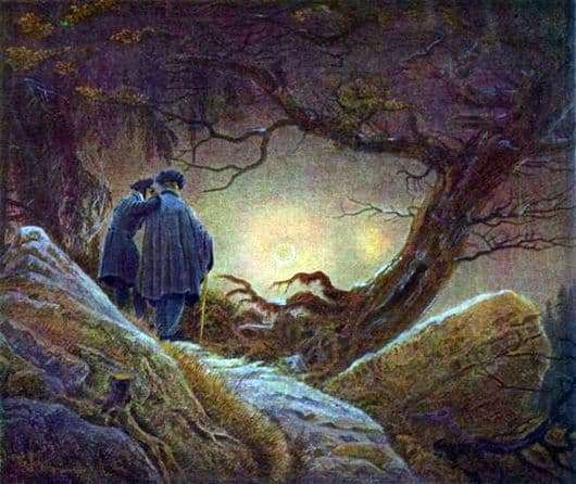 Description of the painting by Caspar David Friedrich Sunset