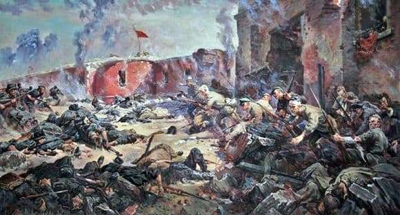 Description of the painting by Peter Krivonogov Defenders of the Brest Fortress