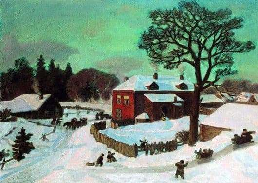 Description of the painting by Nikolai Krymov Pink Winter