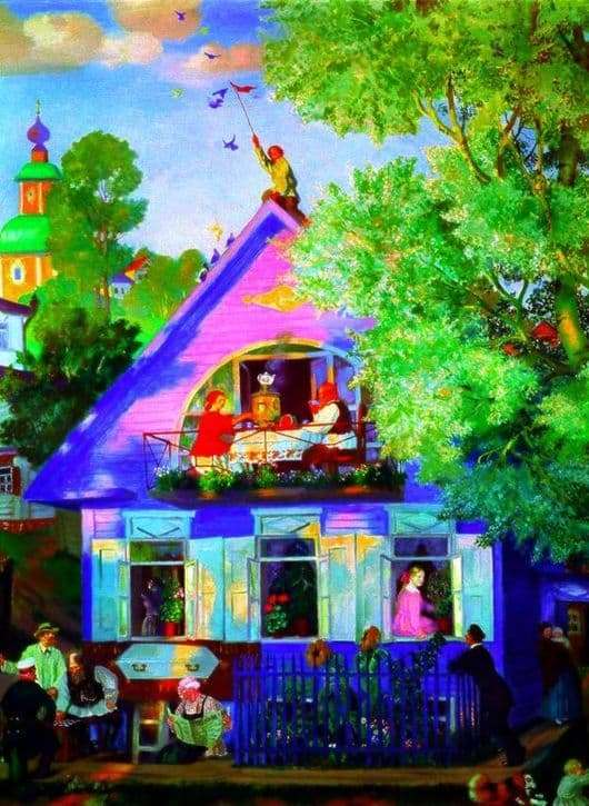 Description of the painting by Boris Kustodiev Blue House