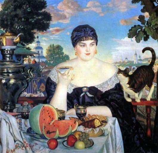 Description of the painting by Boris Kustodiev Merchants tea