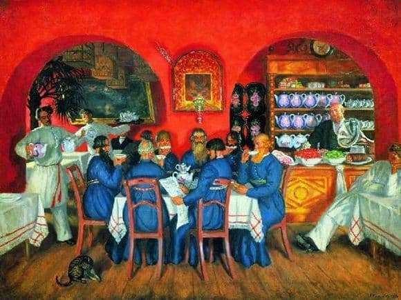 Description of the painting by Boris Kustodiev Moscow tavern