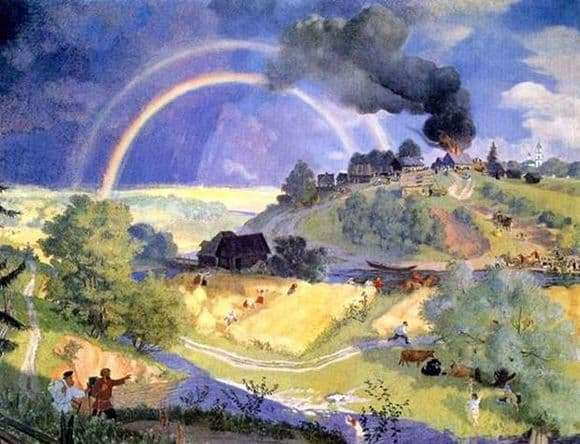 Description of the painting by Boris Kustodiev After the Storm