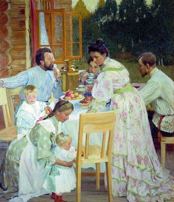 Description of the painting by Boris Kustodiev On the terrace