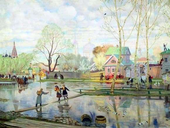 Description of the painting by Boris Kustodiev Spring