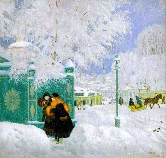 Description of the painting by Boris Kustodiev Winter landscape