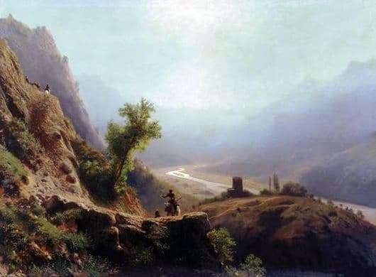 Description of the painting by Lev Lagorio In the mountains of the Caucasus
