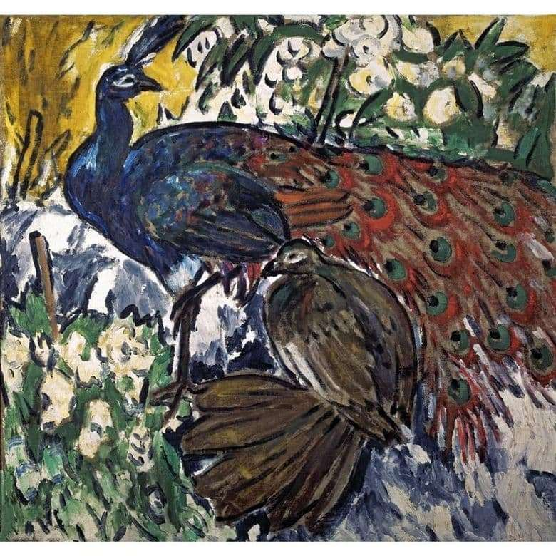 Description of the painting by Mikhail Larionov Peacocks