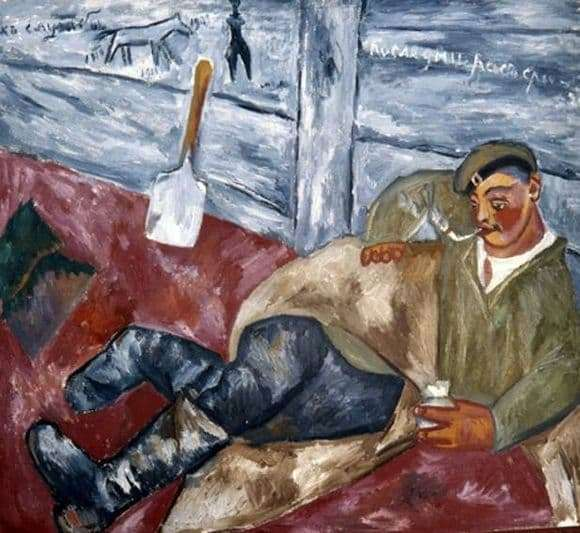 Description of the painting by Mikhail Larionov Resting Soldier