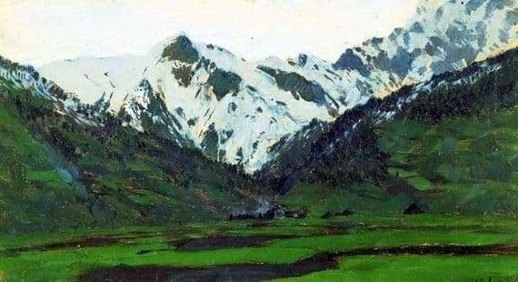 Description of the painting by Isaac Levitan In the Alps in the spring