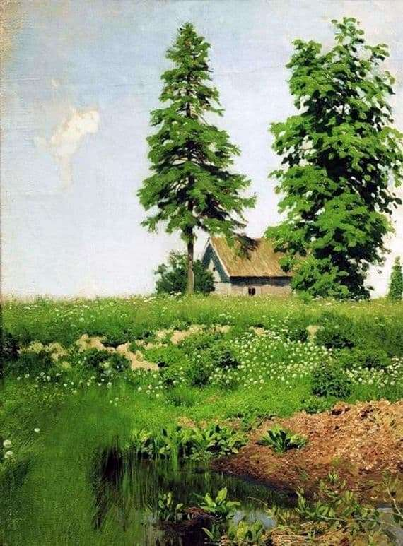 Description of the painting by Isaac Levitan Hut in the meadow