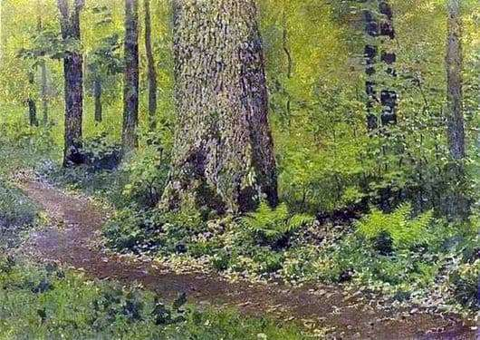 Description of the painting by Isaac Ilyich Levitan A path in the deciduous forest. Ferns