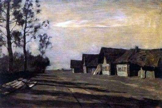 Description of the painting by Isaac Levitan Moonlit night. Village