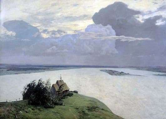 Description of the painting by Isaac Levitan Over eternal rest