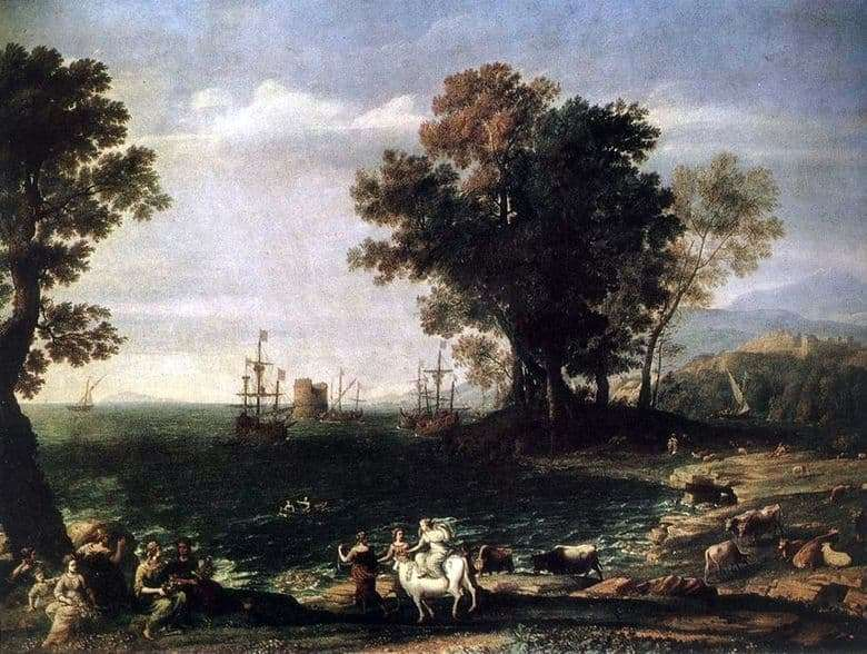 Description of the painting by Claude Lorrain The Abduction of Europe