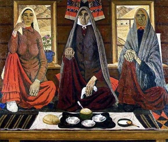 Description of the painting by Ahmat Lutfullina Three Women