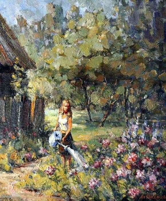 Description of the painting by Andrey Lysenko Girl with a watering can