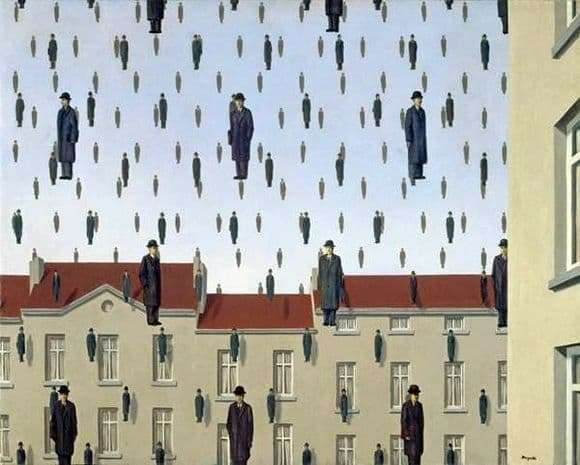 Description of the painting by Rene Magritte Golkonda