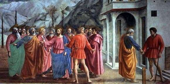 Description of the fresco by Masaccio Miracle with a Statyr