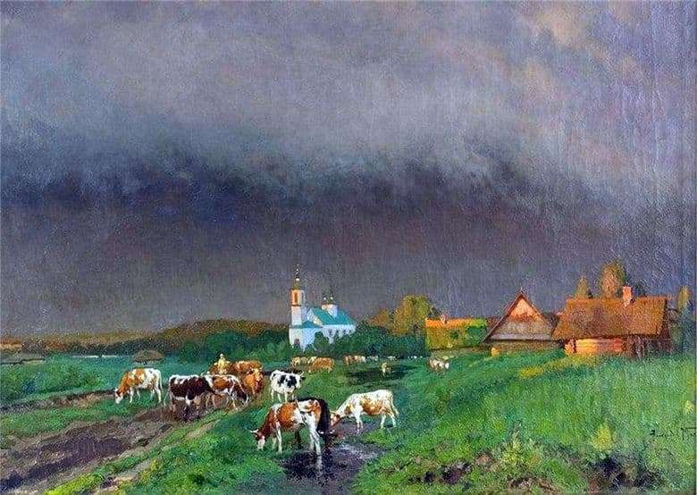 Description of the painting by Alexander Makovsky Before the storm (Landscape with cows)