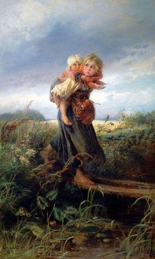 Description of the painting by Konstantin Makovsky Children running from a thunderstorm