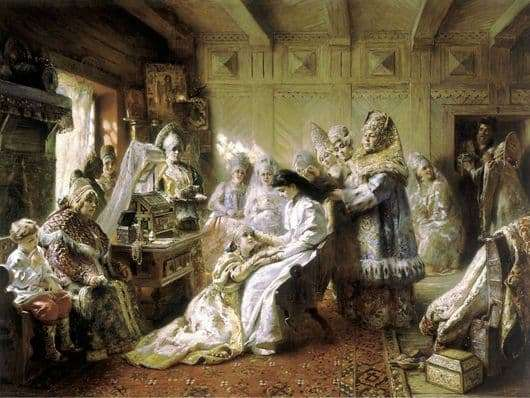 Description of the painting by Konstantin Makovsky Under the crown