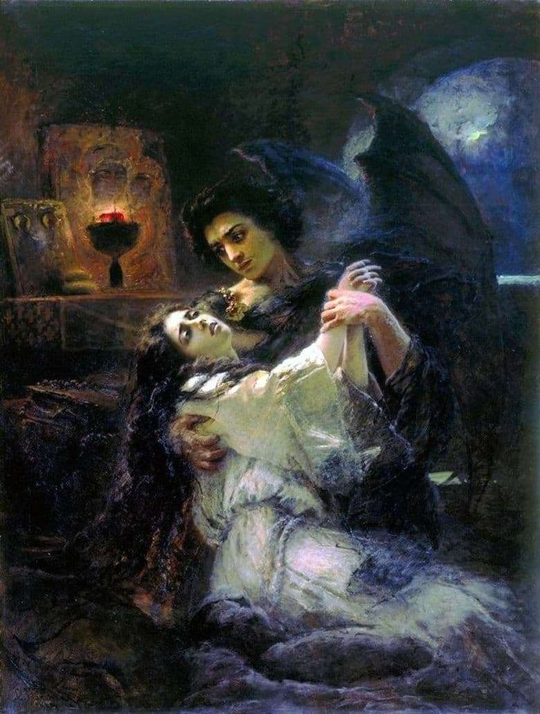 Description of the painting by Konstantin Makovsky Tamara and the Demon