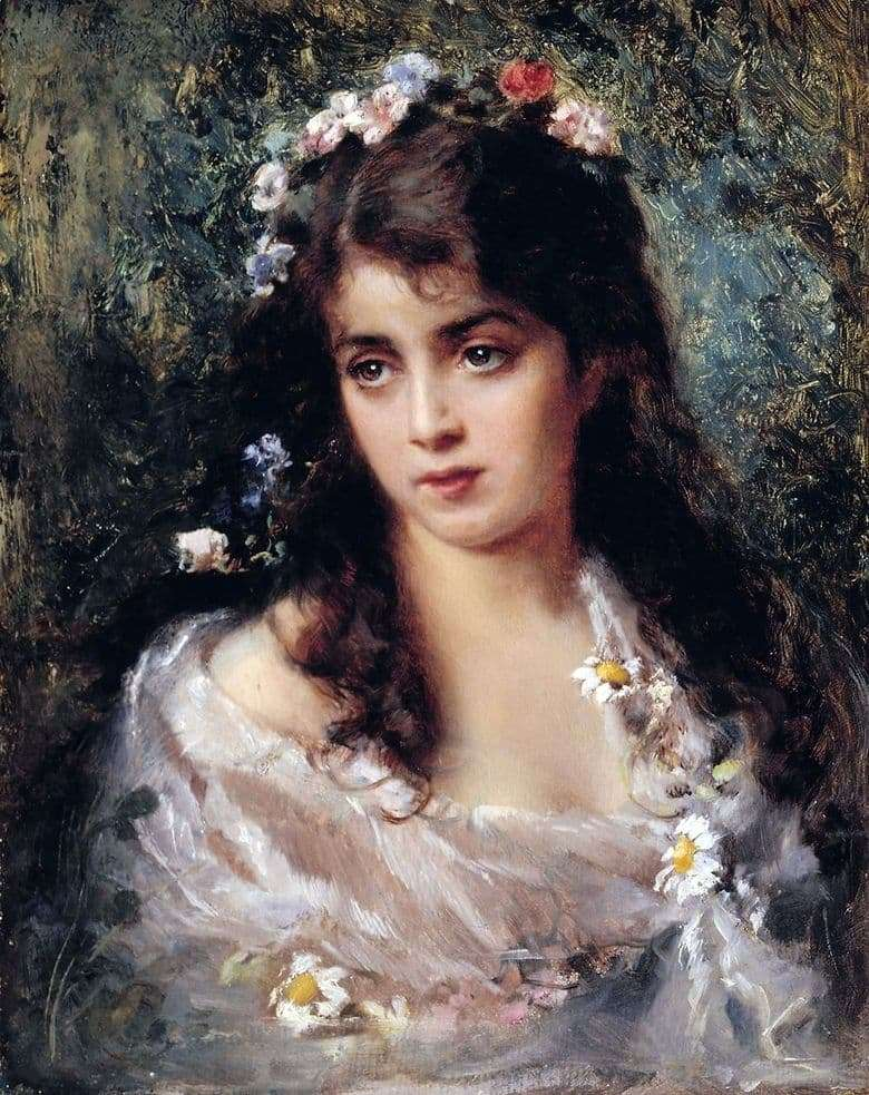 Description of the painting by Konstantin Makovsky Girl in Flora Suit