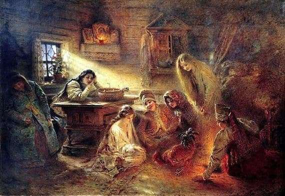 Description of the painting by Konstantin Makovsky Christmas divination to the groom