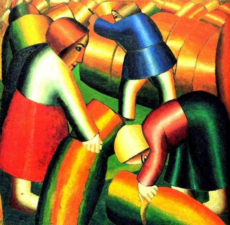 Description of the painting by Kazimir Malevich Cleaning rye
