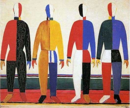 Description of the painting by Kazimir Malevich Athletes