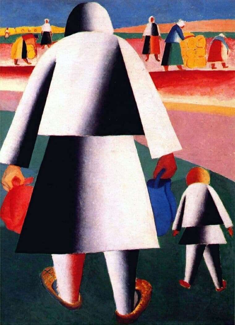 Description of the painting by Kazimir Malevich To the harvest (Martha and Roly)