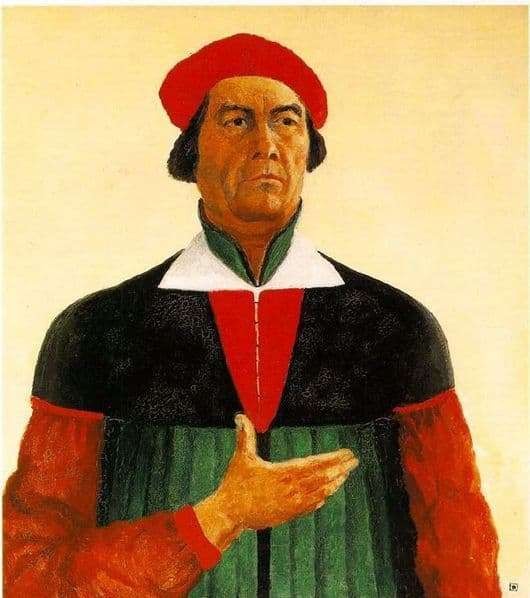 Description of the painting by Kazimir Malevich Self portrait