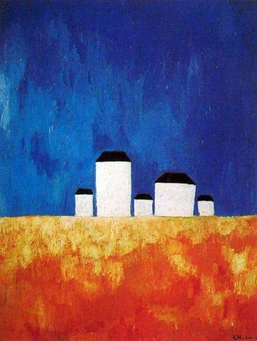 Description of the painting by Kazimir Malevich Landscape with five houses