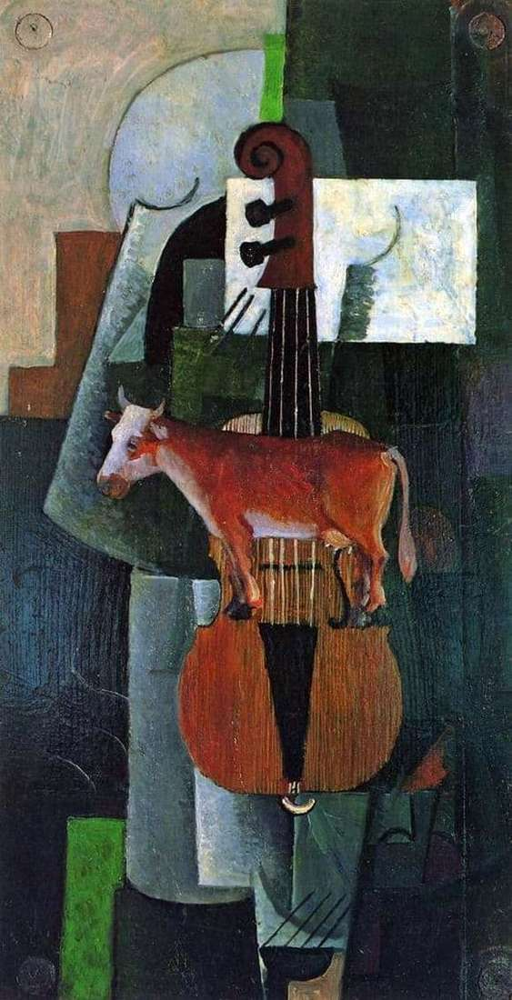Description of the painting by Kazimir Malevich Cow and violin