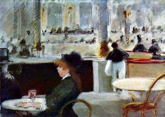 Description paintings by Edward Manet In the cafe